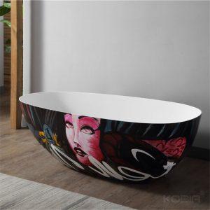 Freestanding Soaker Tub, 67″ Modern Art Design Solid Surface Bathtub Manufacturer