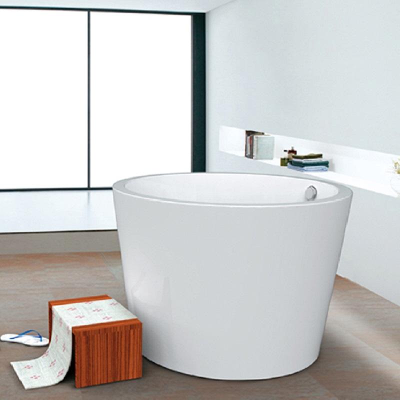 Japanese Soaking Tub 43 White Acrylic, Round Soaking Tubs