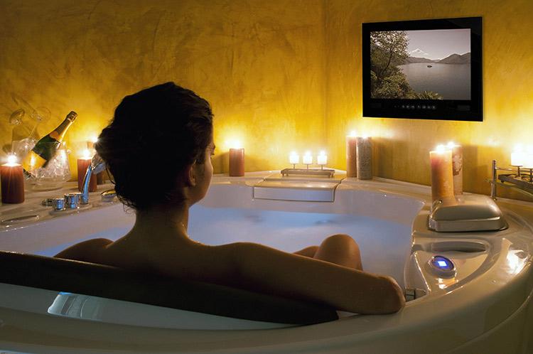 corner hydromassage bathtub