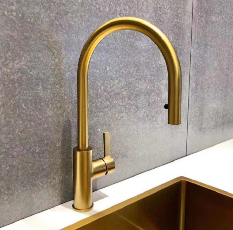 Gold Single Hole Kitchen Faucet