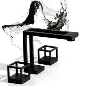 Black Basin Faucet Deck Mount Morden Dual-Handle Bathroom Sink Fauct Manufacturer