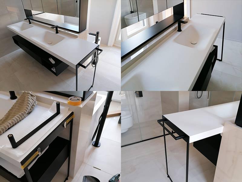 Solid surface bathroom sink
