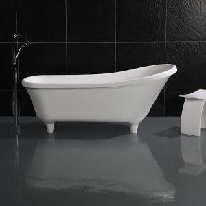 "68"" Solid Surface Slipper Bathtub Wholesale Soaking Freestanding Tub, Matte, White  k61"