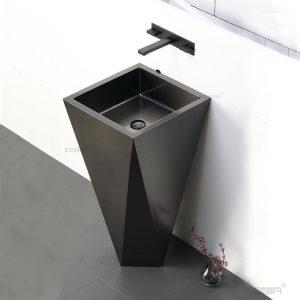 Bathroom Sink Stainless Steel Stand Art Diamond SUS304 Round Hotel Pedestal Wash Basin