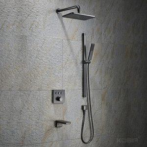 Thermostatic Concealed Rain Shower System Factory Matt Gun Metal Shower Set  KO-6028