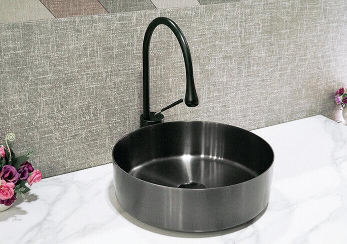 round stainless steel vessel sink
