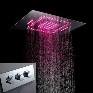 Hot Sale Concealed Shower Set Head Ceiling Chrome Rainfall Shower System with LED Light  k-05-2007