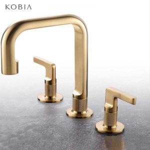 2-Handle Bath Faucet Deck Mount Bathroom Mixer Faucet Widespread Brushed Gold Sink Faucet
