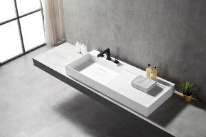 60 Inch Vanity Single Sink,Stone Resin Wall-mounted Sink