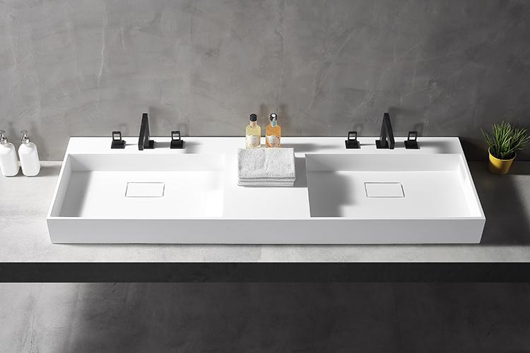 wall-mounted double bathroom sink