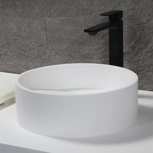 Solid Surface Corian Sink White Hidden Waste Round Acrylic Resin Stone Bathroom Sink K-S1235