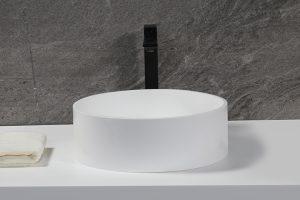 """15"""" Resin Sink Round Bathroom Wash Basin White Matt Artificial Stone Sink with Hidden Waste K-S1234"""