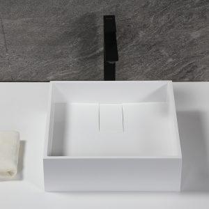 Square Vessel bathroom basin,Solid Surface Matt Stone